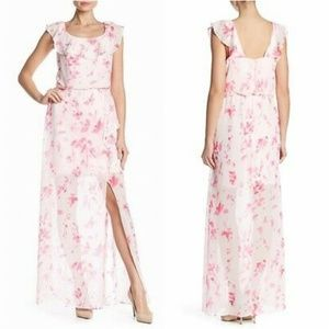 Nine West Floral Slit Ruffled Maxi Dress SZ 2 NWT